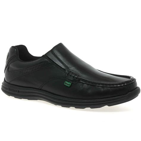 Kickers Slip On Leather kickers reasan shoes mens black leather charles clinkard