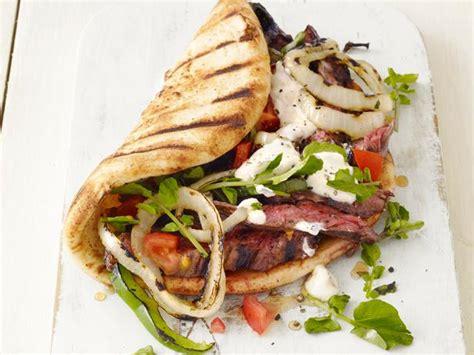 grilled skirt steak gyros recipe food network kitchen food network