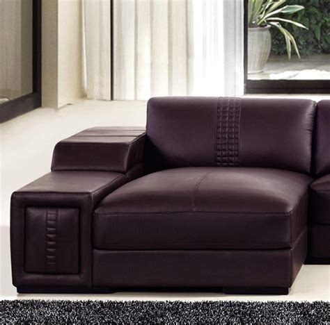 real leather sectional brown leather sectional sofa with built in coffee table