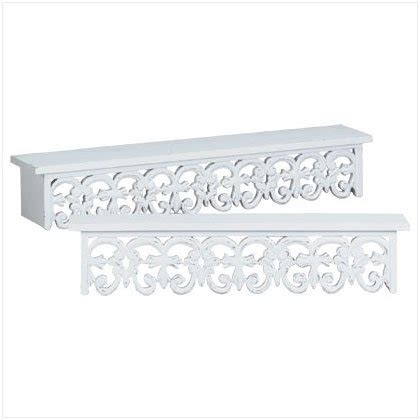 White Wooden Wall Shelves 2pc Distressed White Wood Carved Wall Shelves Shelf Set
