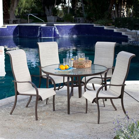 5 Piece Patio Furniture Dining Set With Round Table And 4 Patio Table And 4 Chairs