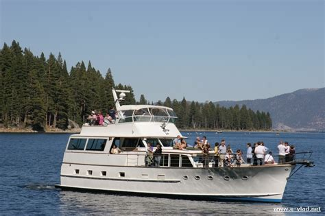 boat tour emerald bay lake tahoe california tour boat close to shore in