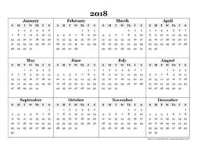 Blank 2018 Calendar 2018 Blank Yearly Calendar Template Free Printable Templates