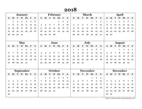 2018 blank yearly calendar template free printable templates