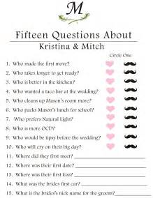 wedding shower questions about and groom