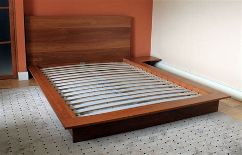 Handcrafted Bed Frames - custom made platform bed with integrated stand