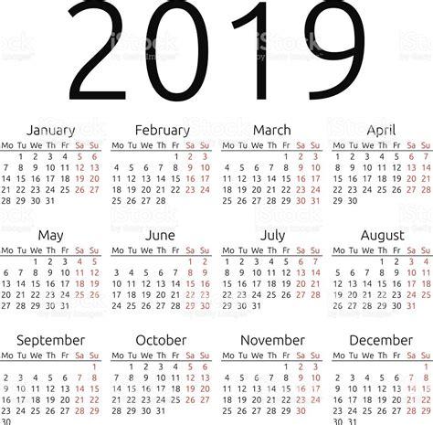 Calendario 2019 Italiano Simples Vetor Calend 225 2019 Vetor E Ilustra 231 227 O Royalty