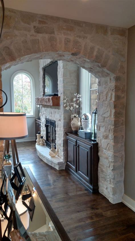 stone veneer fireplace  archway profiles country