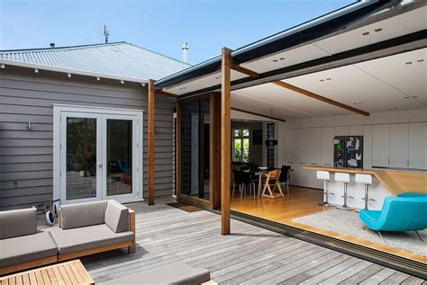 apartment design nz auckland bungalow with modern glass and timber extension