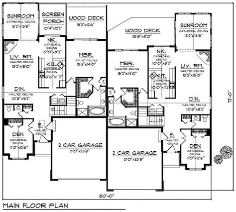 3 4 bath floor plans first floor plan of bungalow multi family plan 97394