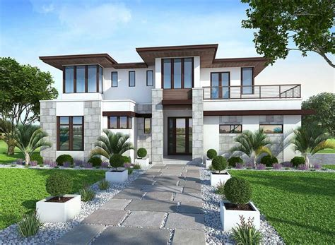 create house plan 86033bw spacious upscale contemporary with second floor balconies modern house