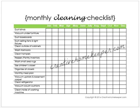 monthly cleaning checklist free printable creative