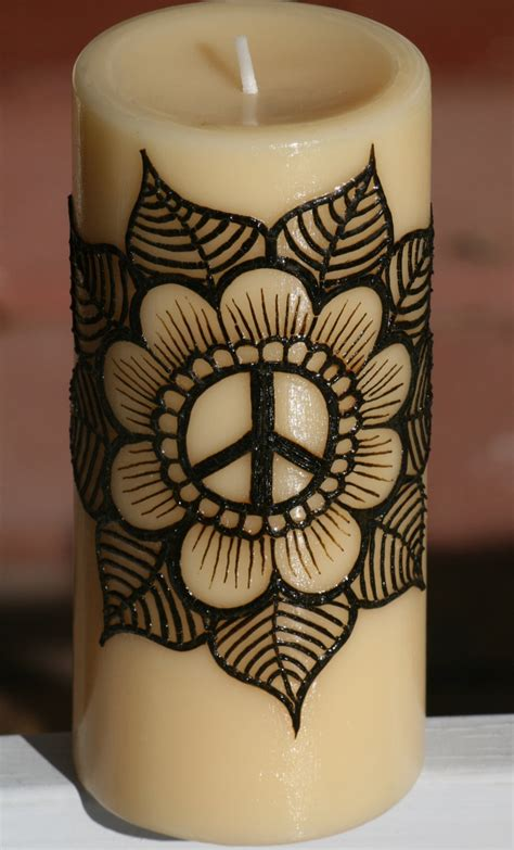 peace henna tattoo henna candle with a flower peace sign beautiful peace