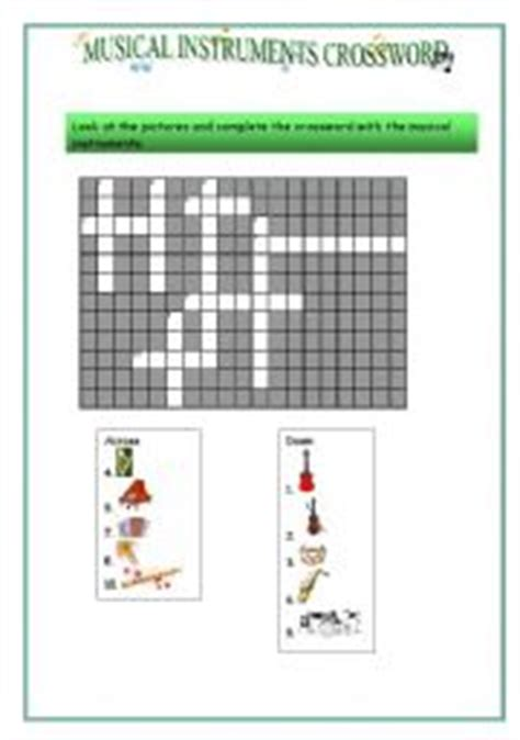 musical instruments crossword puzzle worksheet answers teaching worksheets musical instruments