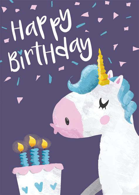 Free Printable Birthday Card Unicorn | happy birthday unicorn 9 printable cards set 50 off