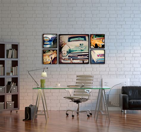 home interior wall art wood photo blocks vintage cars home decor wall art