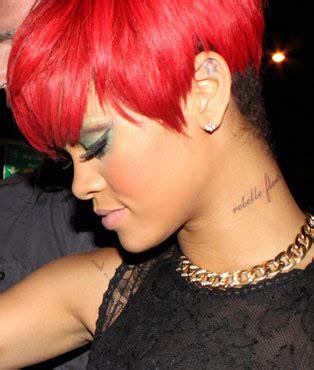 rihanna tattoo on her neck rihanna neck tattoo front