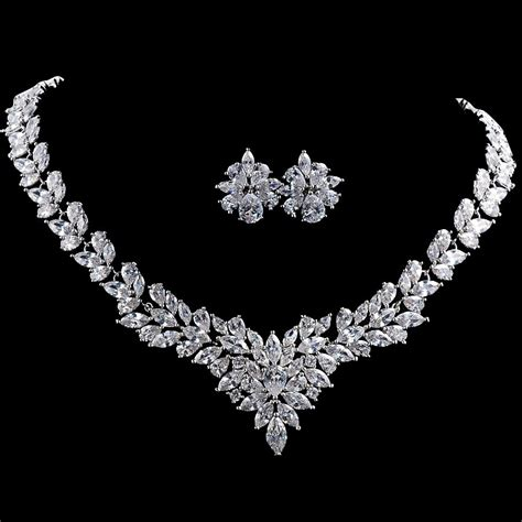 high quality jewelry platinum plated marquise cut cz jewelry set mr002js rojaai
