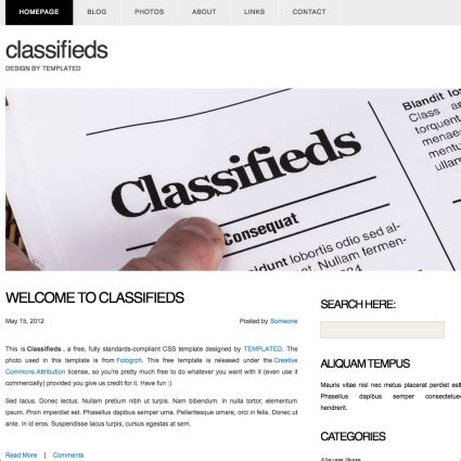 Classifieds Free Website Templates In Css Html Js Format For Free Download 489 23kb Classified Ads Template