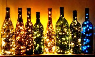 Recycled wine bottle lights make great christmas decorations