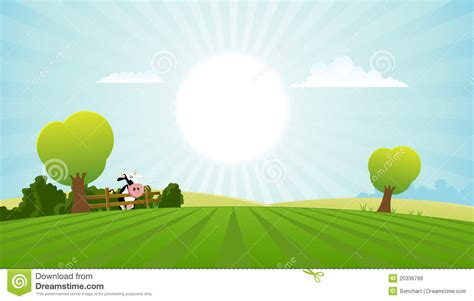 Free Landscape Design App Cartoon Field With Dairy Cow Royalty Free Stock Images