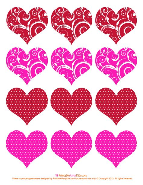 printable hearts for valentines day hearts cupcake toppers s day