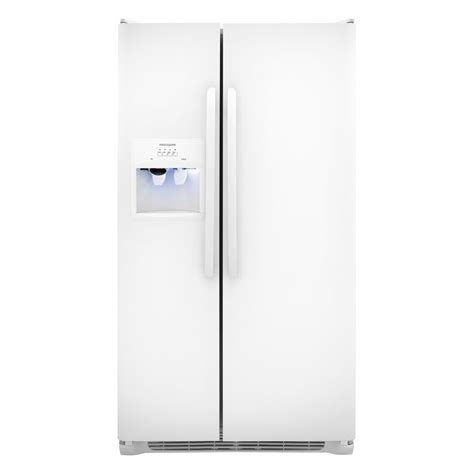 shop frigidaire 26 cu ft side by side refrigerator with single ice maker white at lowes com