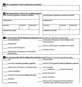 Employee Form Template by Sle Employee Complaint Form Template 7 Free