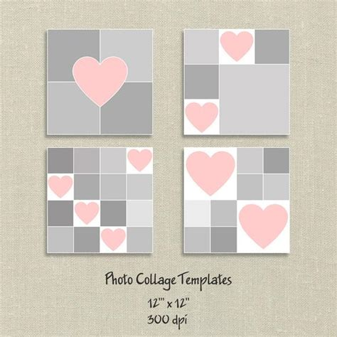 4 Photo Templates Photo Collage Template Hearts Card Template Storyboard Template Valentine Photo Collage Cards Templates