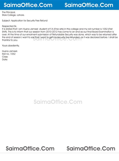 Application Letter Refund Fees Application For Security Fee Refund Documentshub