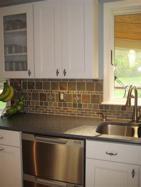 Kitchen Cabinet Backsplash by White Cabinets Countertops And Slate Backsplash