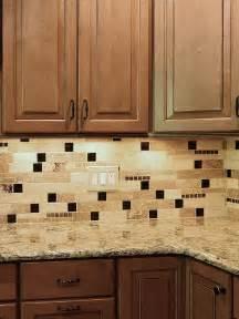 Kitchen Backsplash Travertine Tile by Brown Glass Travertine Mix Backsplash Tile For Traditional