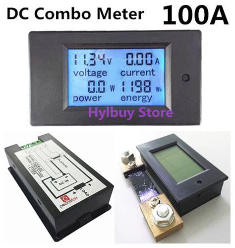 Wattmeter Kwh Meter Dc dc 100a lcd combo meter voltage current kwh watt panel meter 12v 24v 48v battery ebay
