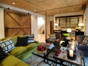 Brown Slipcover Modern And Rustic Style Basement Remodel Design With Small