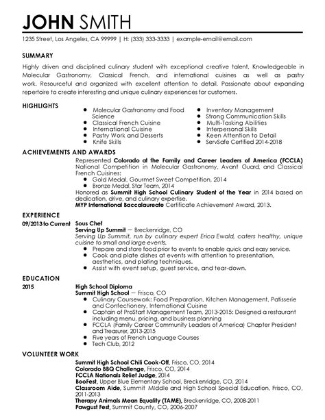 sous chef resume sles professional sous chef templates to showcase your talent
