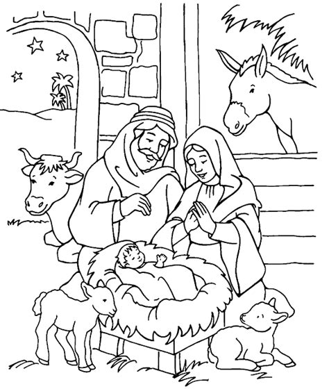 jesus is born nativity coloring page jesus is born coloring page