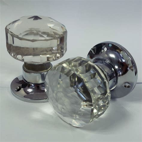 Glass Mortice Door Knobs Crystal Cut Handles Chrome Plated Door Knobs Glass
