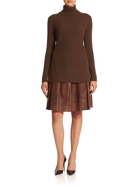 lafayette 148 new york leather pleated rayden skirt in