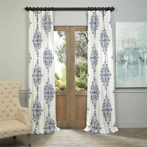 twill curtains kerala blue 96 x 50 inch printed cotton twill curtain
