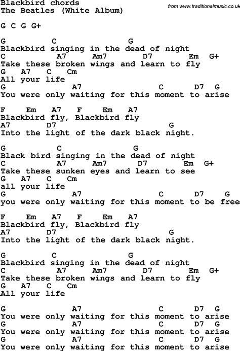 lyrics guitar chords black bird by the beatles tabs song as pdf