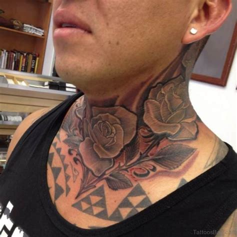 black rose neck tattoo 34 pleasant black neck tattoos