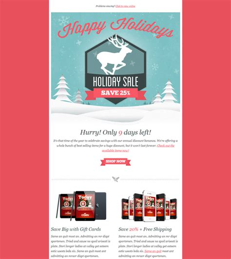 Holiday 5 More Christmas Holiday Email Template Web Ui Graphic Design Pinterest Mailchimp New Year Template