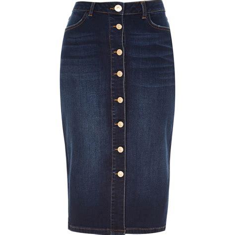 river island denim button up midi pencil skirt in