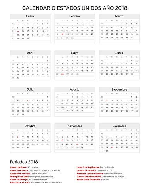 Calendario De Dias Festivos En Estados Unidos Calendario Estados Unidos A 241 O 2018 Feriados