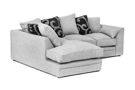 Two Seater Corner Sofa by Darcy Corner Sofa In Grey Fabric With Footstool Armchair