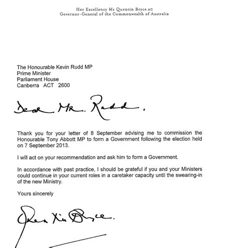 Resignation Letter Lifehacker Here Is The Resignation Letter Kevin Rudd Sent To The Governor General Business Insider