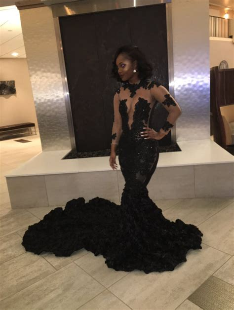 black girl prom dresses sexy black girls lace appliques sheer mermaid long sleeve