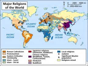 Religion Map Of The World by World Religions Map