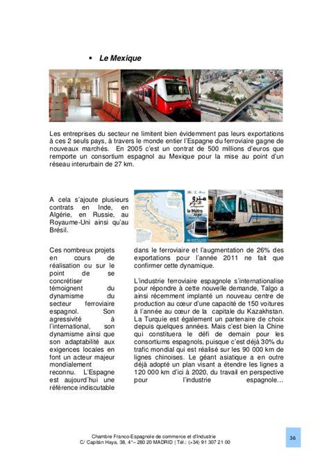 chambre de commerce espagnole le march 233 ferroviaire en espagne 2013 chambre franco