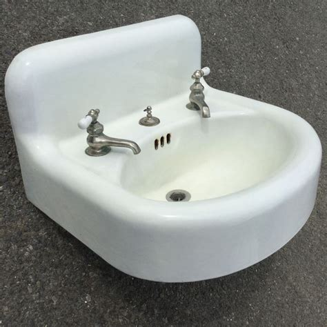 White Enamel Sink details about vtg antique white porcelain enamel standard sanitary mfg co bathroom sink